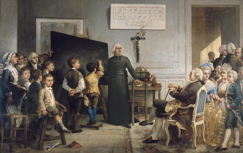 Gonzague Privat, l'Abbé de l'Epée instruisant ses élèves en présence de Louis XVI, INJS de Paris.