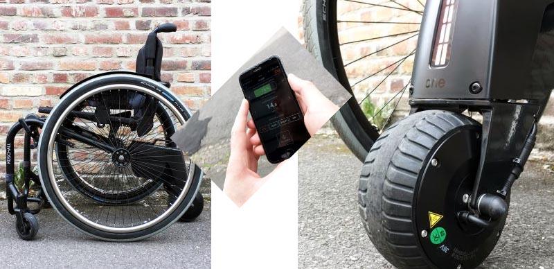 Une propulsion pour fauteuil roulant manuel.