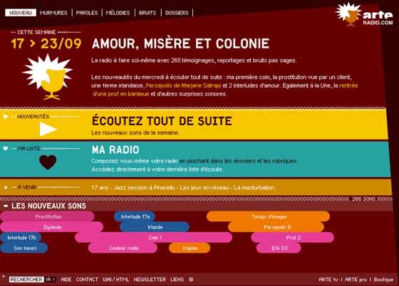 interface d'Arte Radio