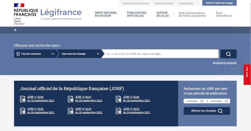 Accueil du site Legifrance
