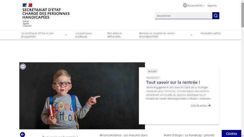 Accueil du site handicap.gouv.fr avec un enfant ukrainien à la une