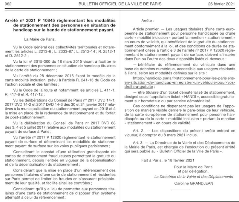 Arrêté de la maire de Paris sur le ticket Handi