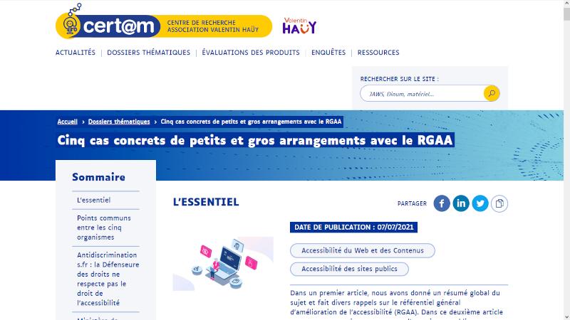 Article du Certam AVH Cinq cas concrets de petits et gros arrangements avec le RGAA