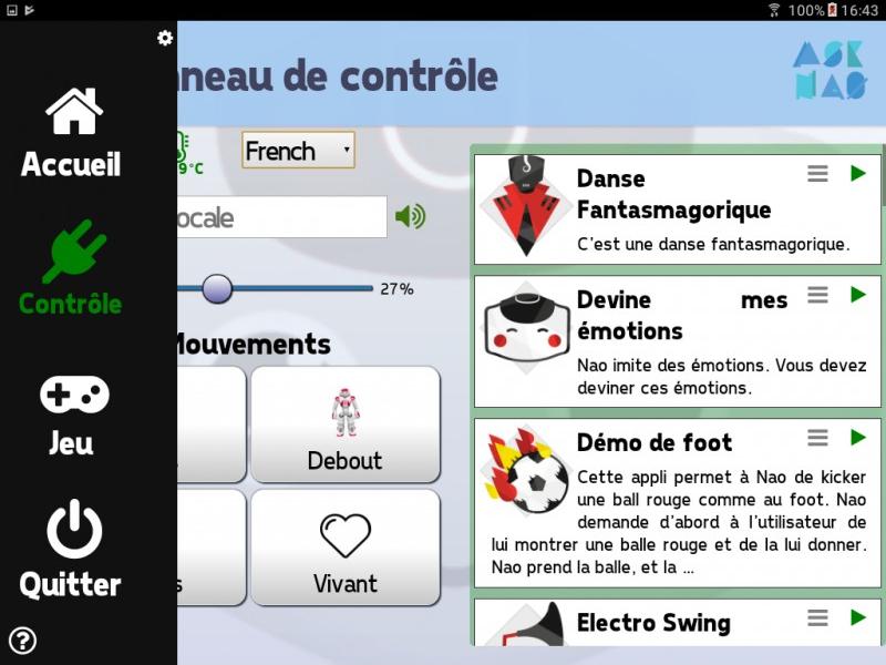 Ecran d'accueil AskNao Tablet