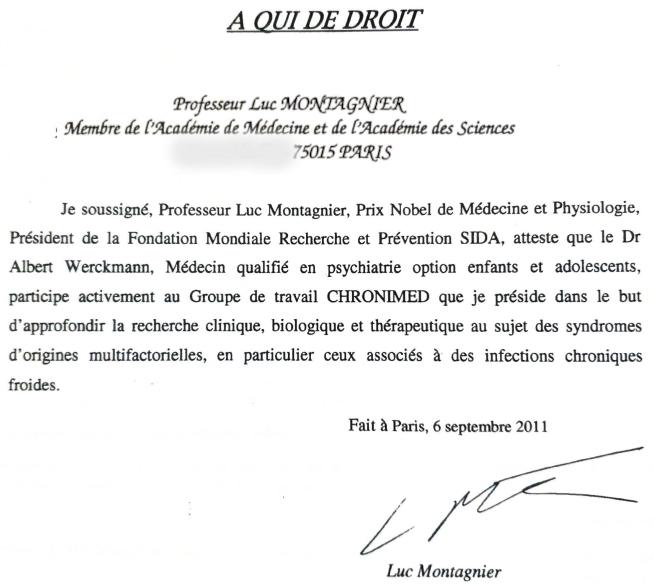 Attestation signée par le Professeur Luc Montagnier pour Une