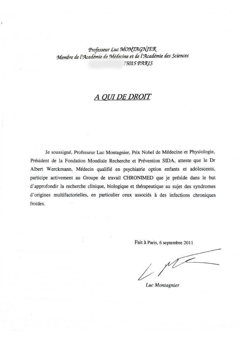 Attestation signée par le Professeur Luc Montagnier le 6 septembre 2011