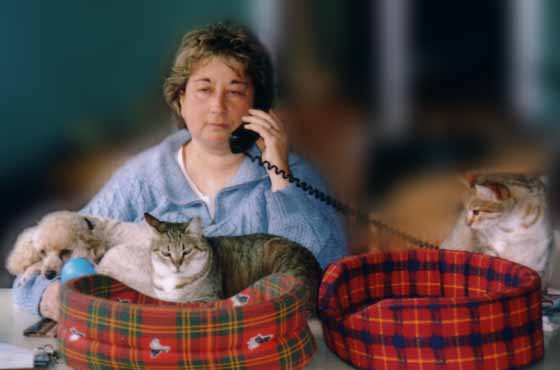 Muriel Bru et ses animaux de compagnie.