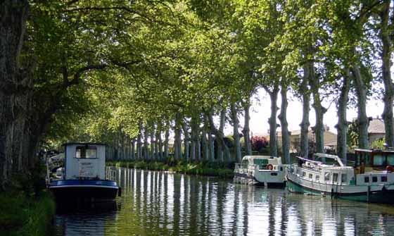bateaux amarrés le long du Canal du Midi. © François Nagot