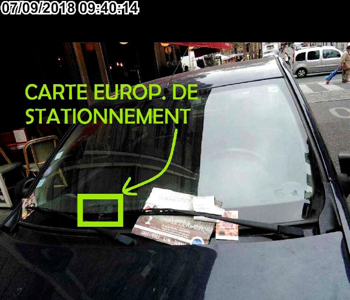 Véhicule sanctionné à Paris d'un FPS malgré l'affichage d'une carte de stationnement