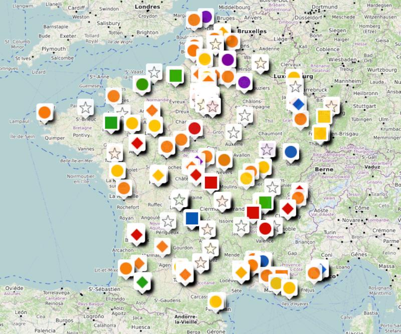 Carte de France des classes pour jeunes sourds