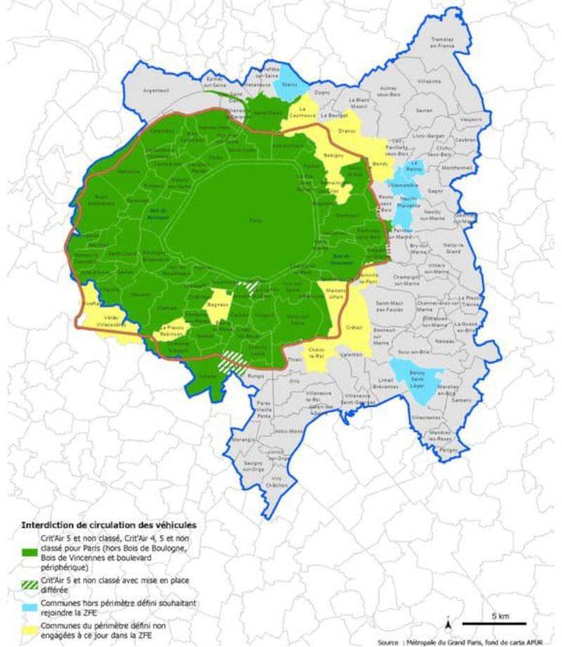 Carte des communes de la ZFE du Grand-Paris