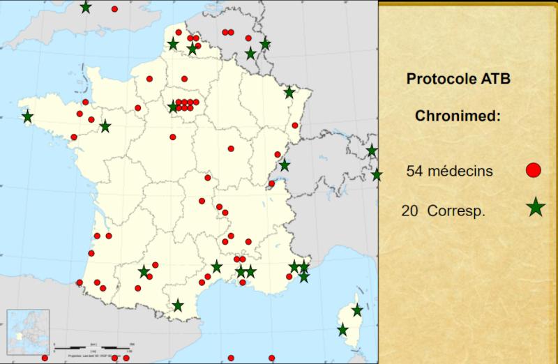 Carte des médecins et correspondants Chronimed en 2013
