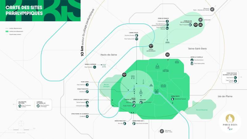 Carte des sites paralympiques