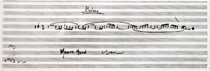 Cinq premières mesures du thème du Boléro, manuscrit autographe de Maurice Ravel (1928)