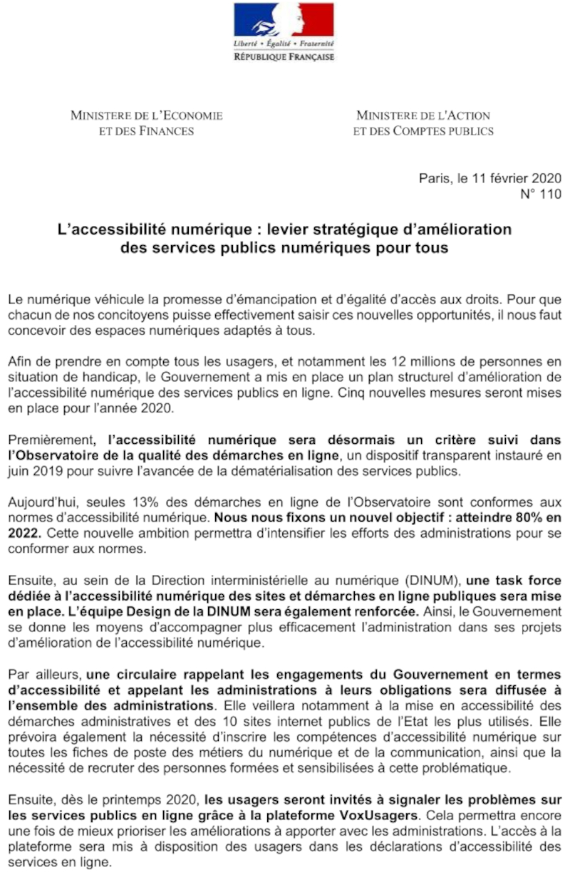 Communiqué de février 2020 sur l'accessibilité numérique des formalités administratives