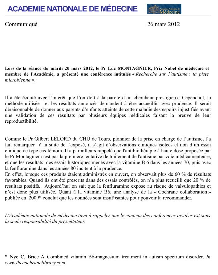 Communiqué de l'Academie de Médecine en réaction à la conférence du Professeur Luc Montagnier