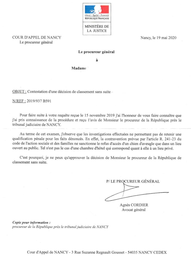 Cour d'Appel de Nancy - Contestation d'une décision de classement sans suite - 19 mai 2020