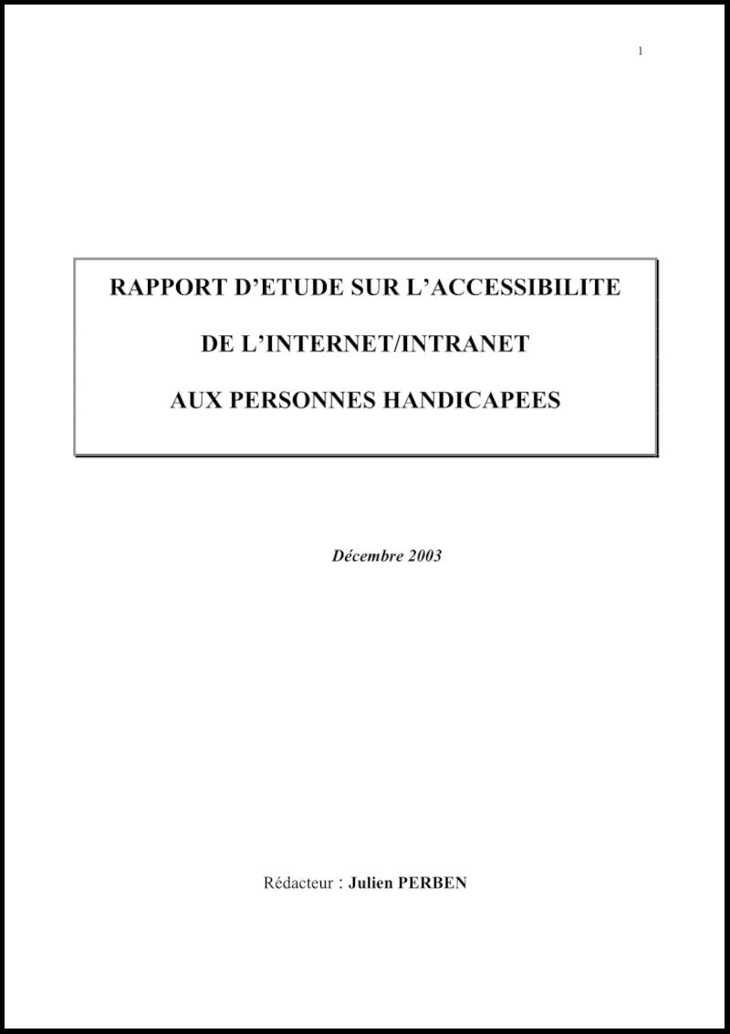 Couverture du rapport sur l'accessibilité rédigé à la demande du Gouvernement par Julien Perben en décembre 2003