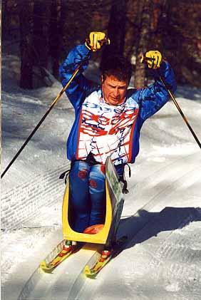 Didier Riedlinger sur sa luge nordique