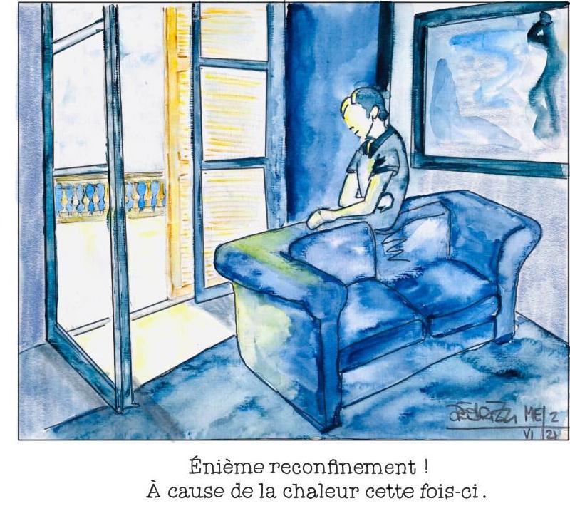 Dessin Canicule et confinement ©Agnès Fédrizzi