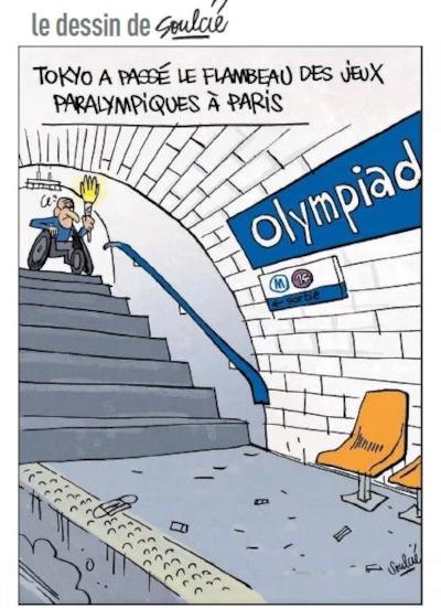 Dessin de Thibault Soulcié Tokyo a passé le flambeau des jeux paralympiques à Paris