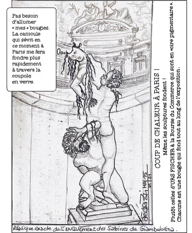 Dessin de la sculpture en cire L'enlèvement des Sabines, pendant la canicule ©Agnès Fédrizzi