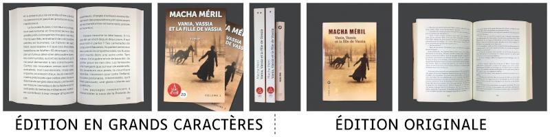 Edition en grands caractères comparée à l'original, roman de Macha Méril