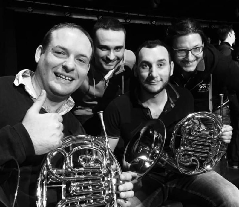 Ensemble de Cors Pop K'Horn avec Maxime Bouche, Florian Wantuch, Alexandre Féraille et Quentin Lescroart