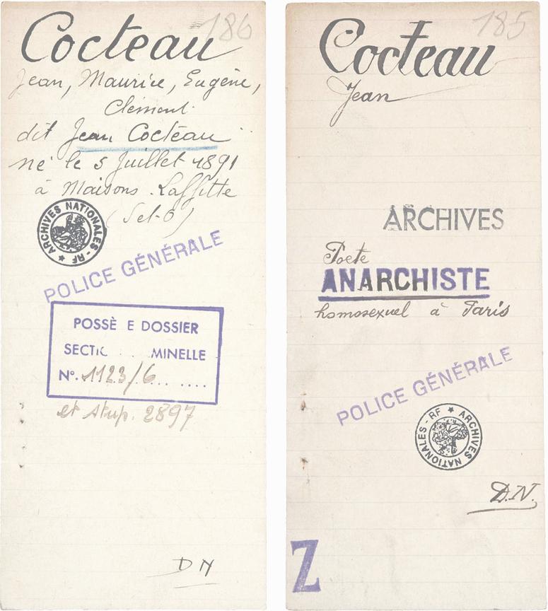 Fiche de police de Jean Cocteau