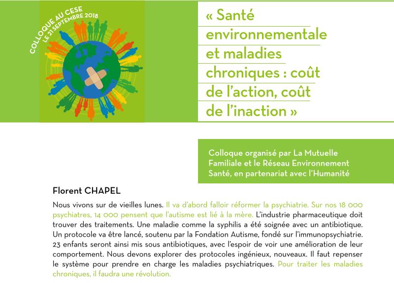 Florent Chapel annonce le 21 septembre 2018 lors d'un colloque un protocole antibiotique sur des personnes autistes