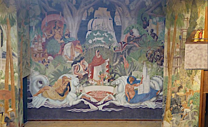 Fresque de l'atrium de la cité de l'Immigration ©Yanous.com