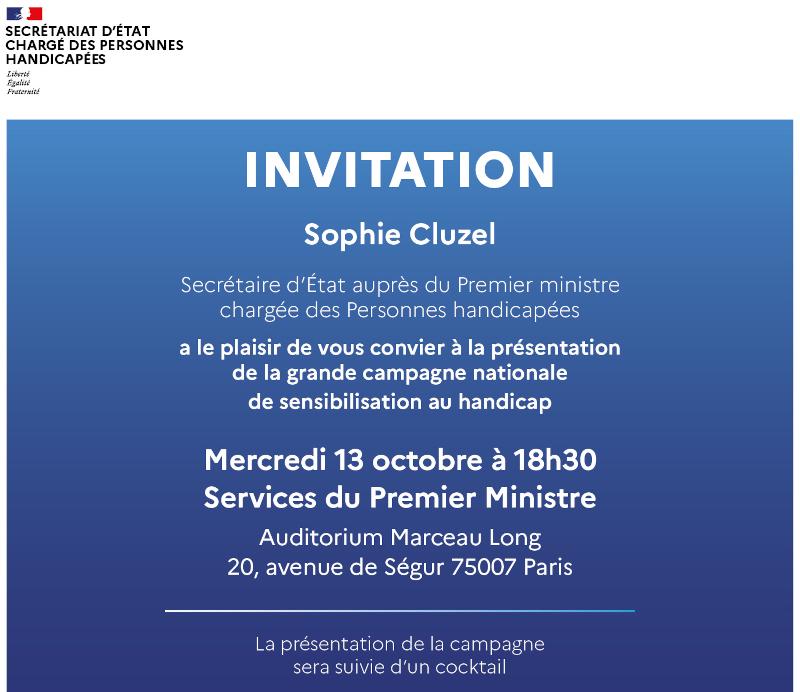 Invitation à la présentation de la campagne nationale de sensibilisation au handicap