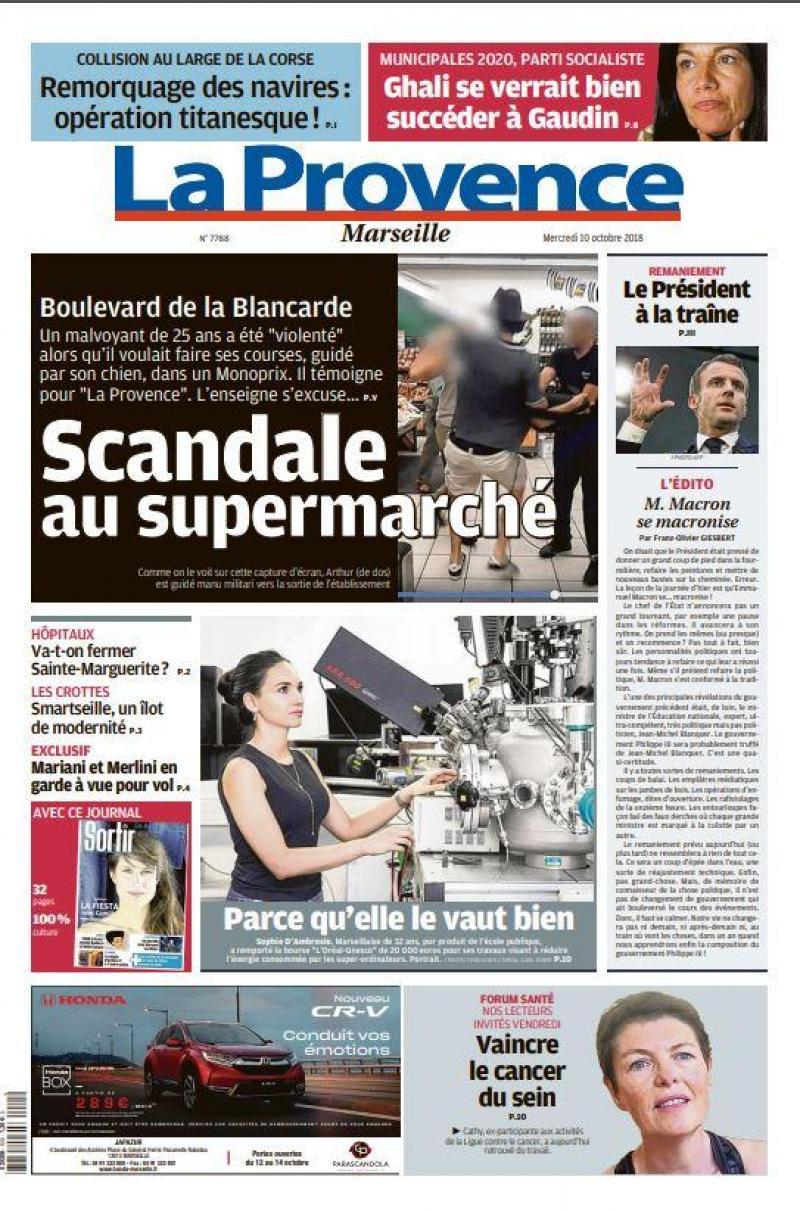 L'expulsion d'un chien guide et son maitre d'un supermarché de Marseille fait la Une du journal La Provence
