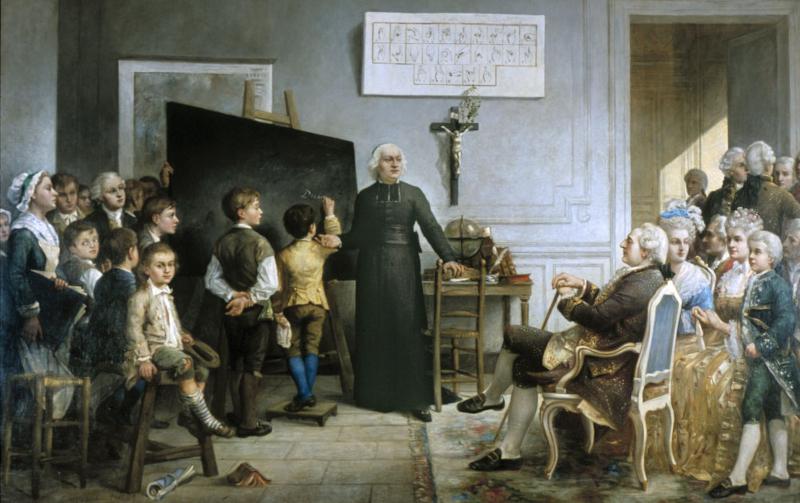 L'abbé de l'Epée instruisant ses élèves en présence de Louis XVI, tableau de Gonzague Privat (1875)