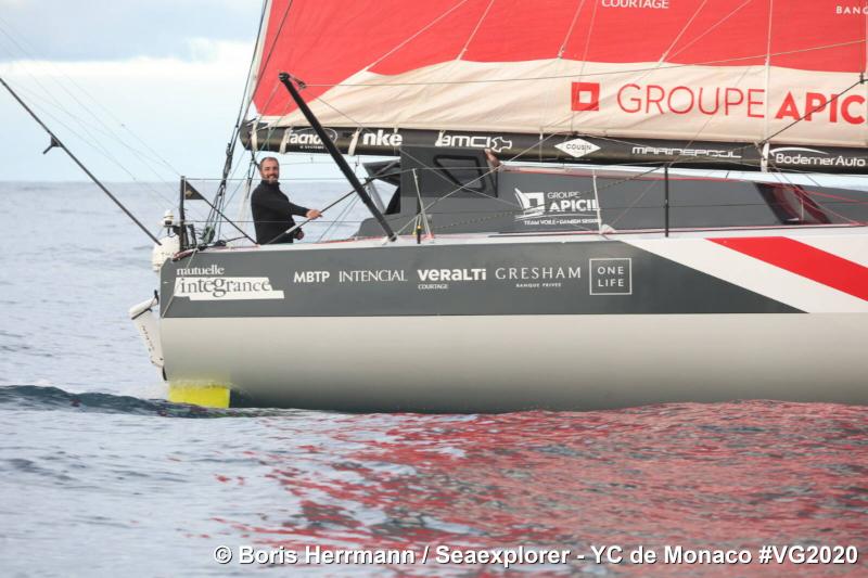 Le 15 décembre 2020, Seaexplorer - YC de Monaco est bord à bord de Groupe Apicil ©Boris Herrmann - Seaexplorer - YC de Monaco