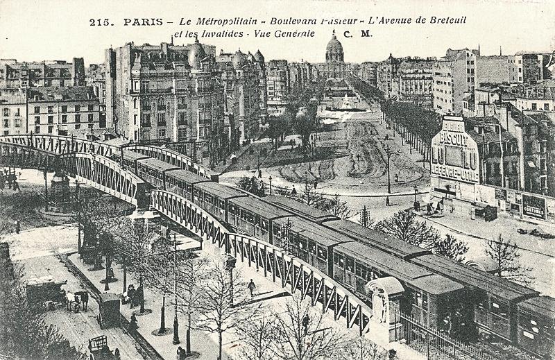 Le métropolitain aérien Boulevard Pasteur dans les années 1910