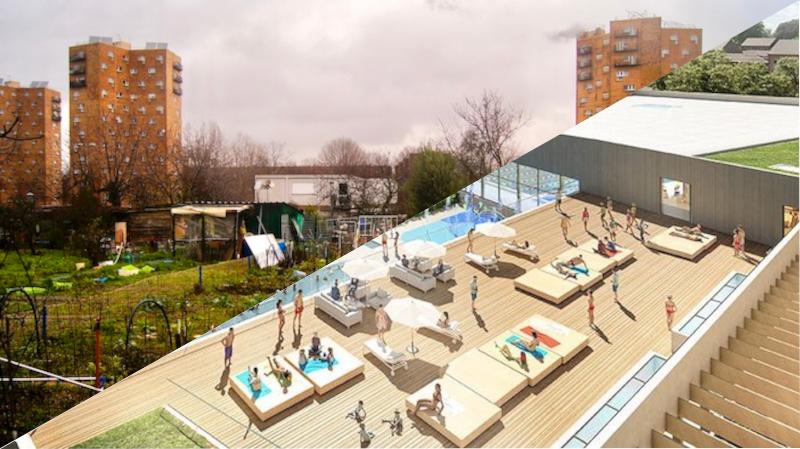 Les jardins ouvriers d'Aubervilliers en janvier 2021 ©Noémie Genty et le projet de centre aquatique d'Aubervilliers ©Chabanne-inui-702