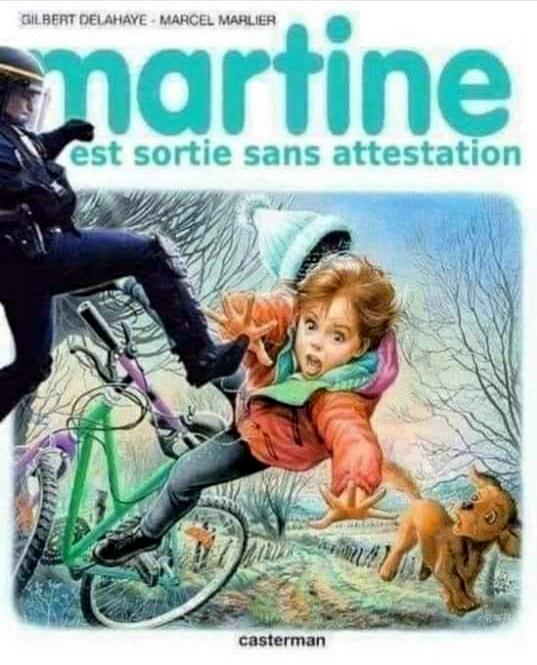 Détournement satyrique : Martine est sortie sans attestation