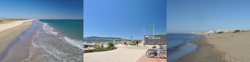 Plage sauvage des Aresquiers, handiplage de Balaruc et plage naturiste du Cap d'Agde