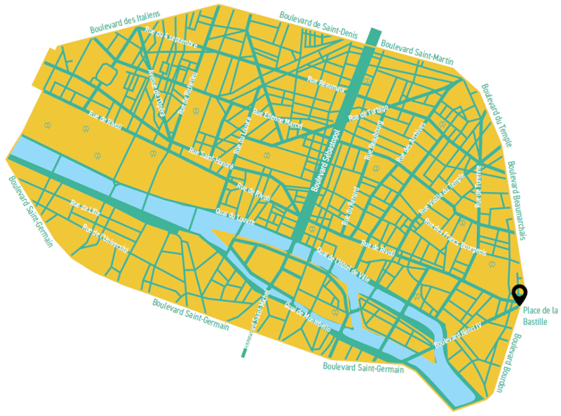 Plan de la future zone interdite de Paris-Centre Saint-Germain