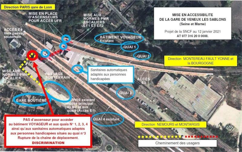 Plan des travaux d'accessibilité de la gare de Veneux-les-Sablons