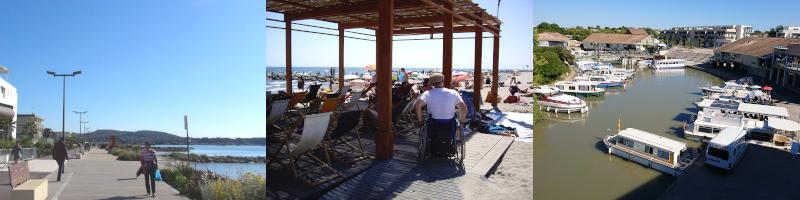 Promenade de bord d'étang à Balaruc, plage de Carnon en fauteuil roulant & port de Colombiers ©Yanous.com