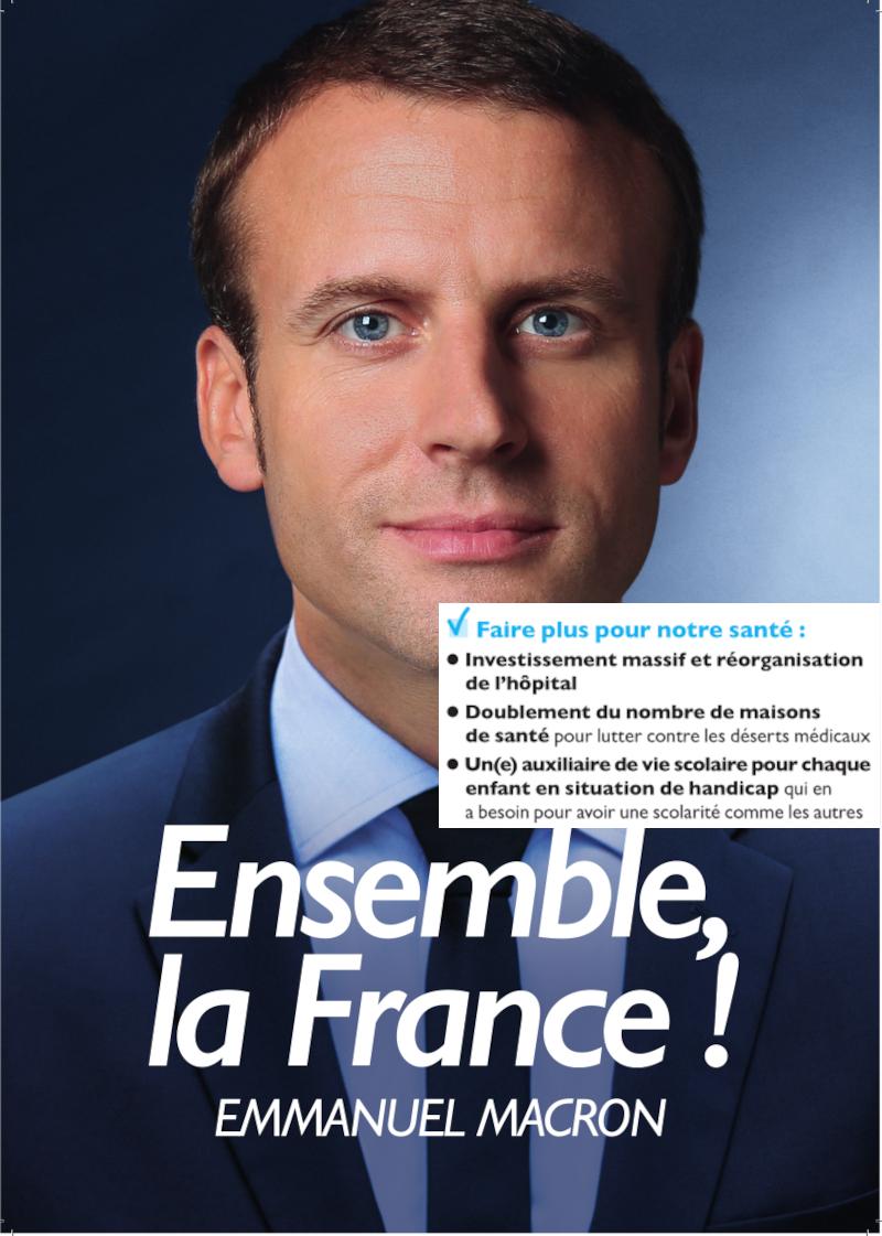 Propagande Emmanuel Macron en 2017, avec propositions santé et handicap