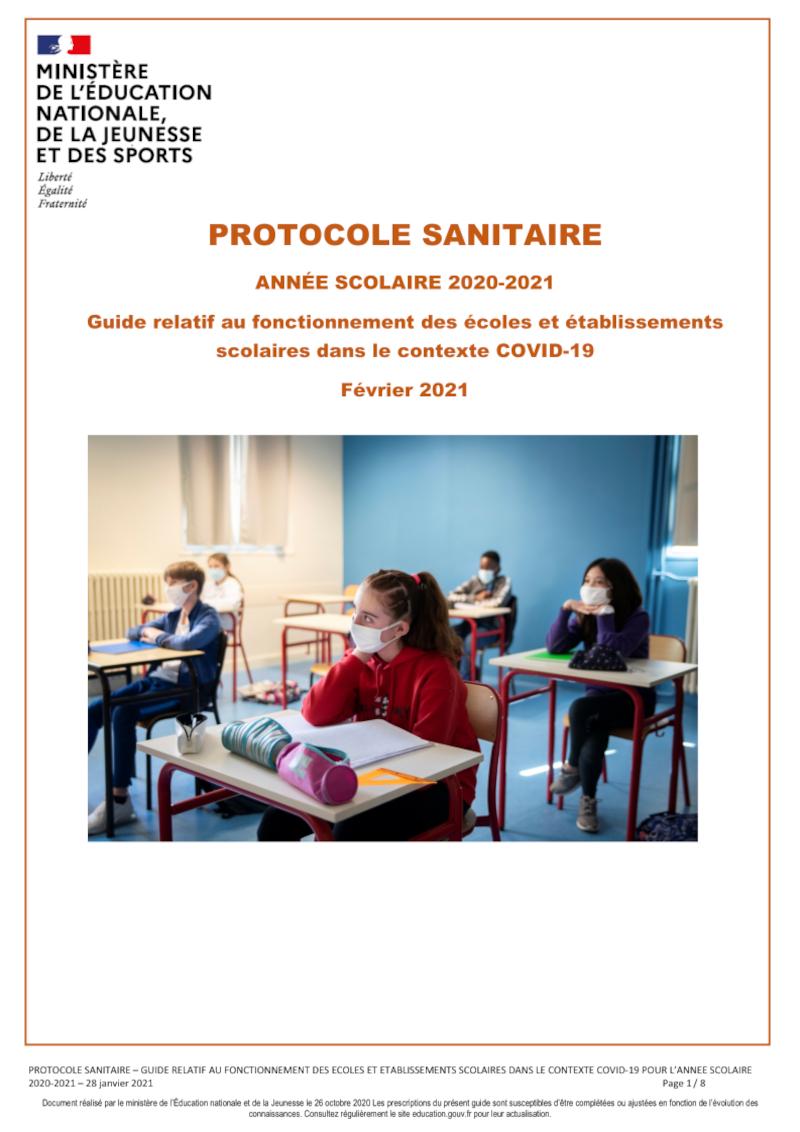 Protocole sanitaire de l'Education Nationale de février 2021