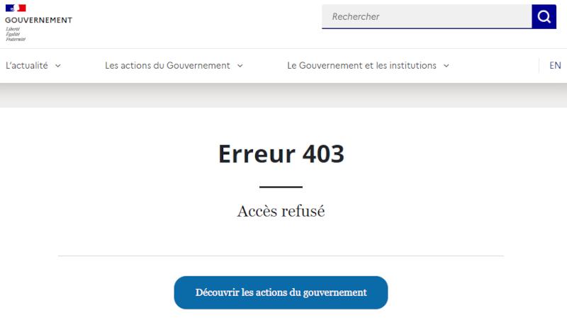 Quand on cherche Ségolène Neuville sur le site du Gouvernement, on obtient un Accès refusé