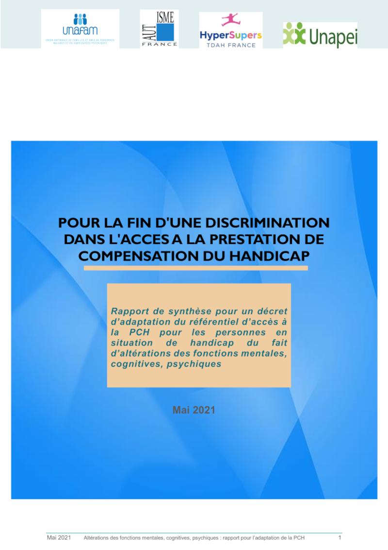 Rapport de synthèse pour un décret d'adaptation du référentiel d'accès à la PCH