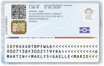Recto du specimen d'une nouvelle carte nationale d'identité