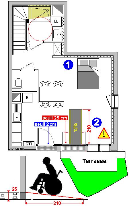 T3 à salle de bains à plafond bas