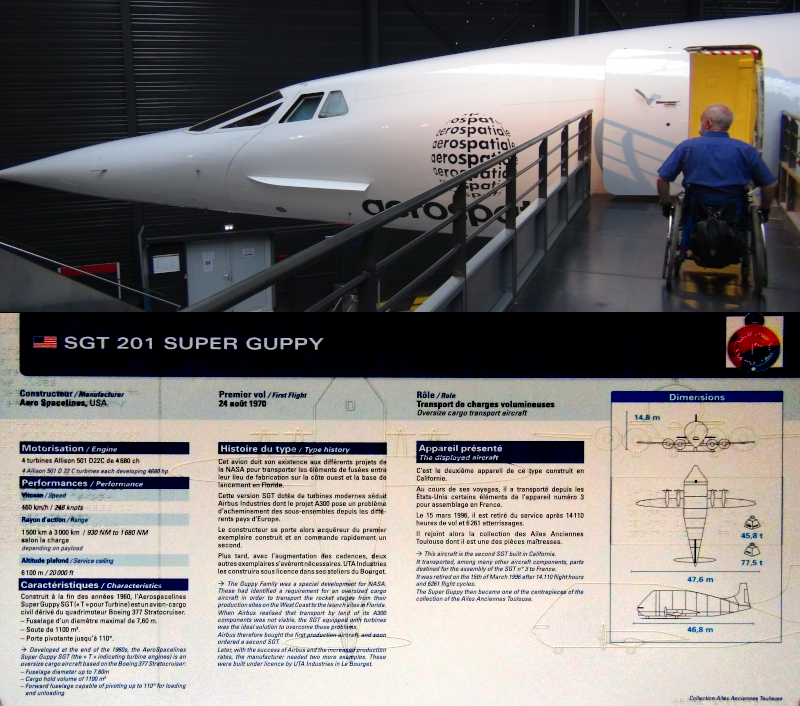 Toulouse Aeroscopia, entrée en fauteuil roulant dans le Concorde expérimental et cartel présentant le Super Guppy en noir, braille et relief ©Yanous.com
