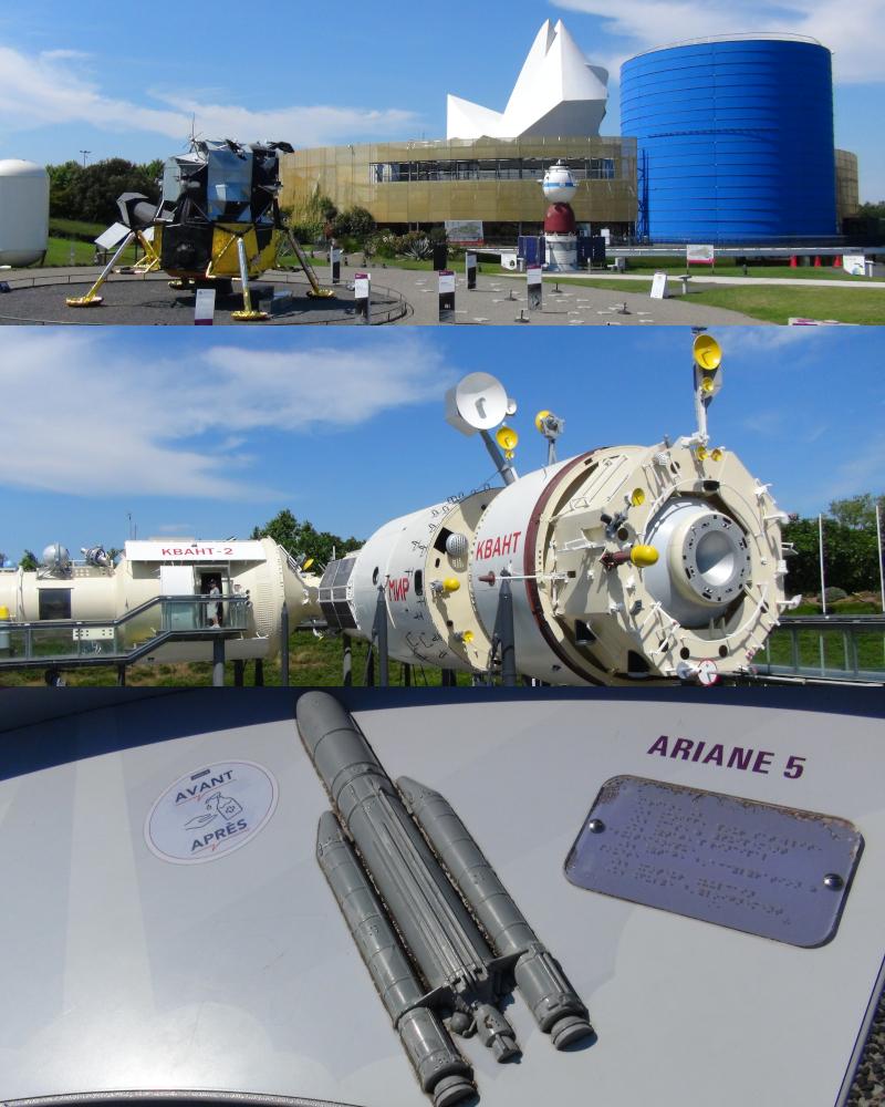 Toulouse, Cité de l'espace avec le LM américain, la station Mir russe et la maquette tactile de la fusée Ariane 5 ©Yanous.com